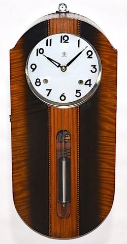 舘本時計製造所 小判型柱時計 昭和初期頃【W275】