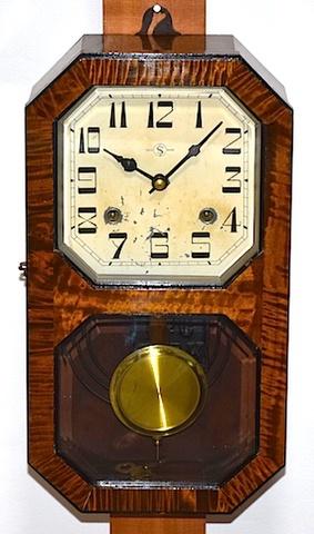 佐藤時計 八角窓箱型柱時計 昭和20年代後半頃【W218】