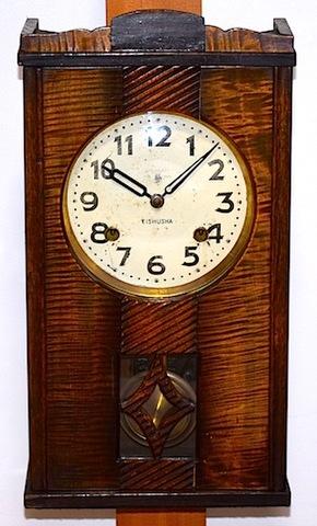 EISHUSHA 宮型柱時計(置型兼用) 昭和10年代【W170】