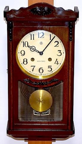 愛知時計 宮型柱時計 昭和30年代【W189】