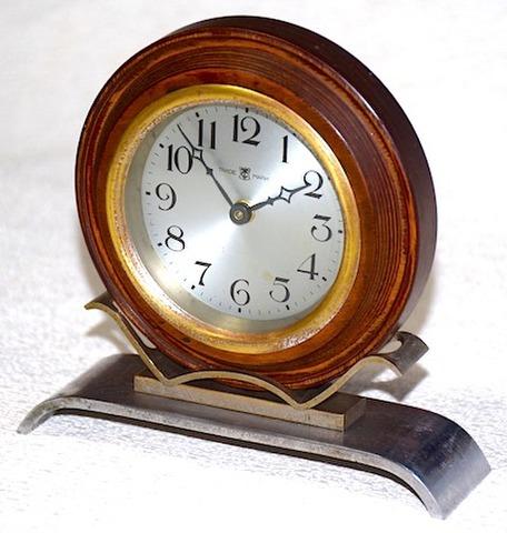 東洋時計 木製丸型枠置時計 昭和10年代【080】