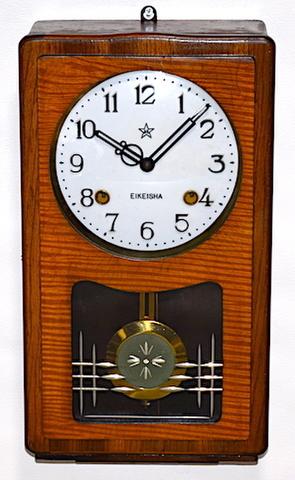 栄計舎 箱型柱時計 ユリア樹脂文字盤 昭和31年【W257】