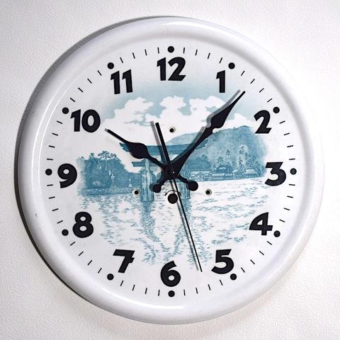 メーカー不明 陶器製丸型掛時計 昭和初期頃【W263】