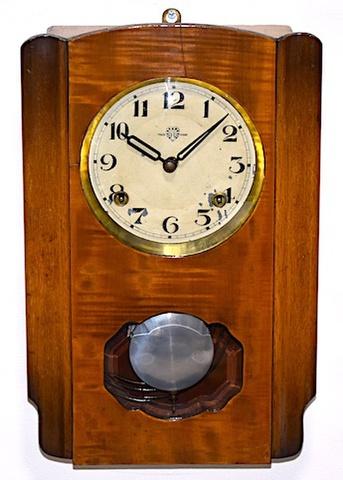 ハートエッチ精工所 小型柱時計 昭和10年代前半【W249】