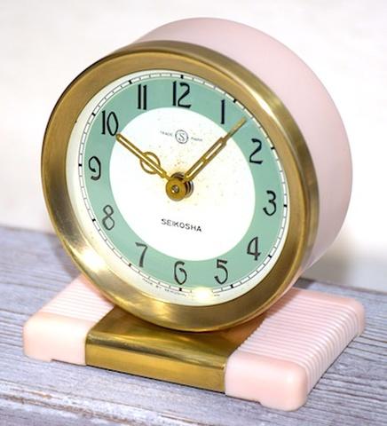 精工舎 プラスチック枠小型置時計 昭和30年頃【081】