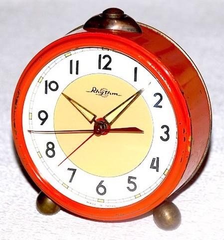 リズム時計 丸形目覚時計 昭和30年代前半 難有【038】