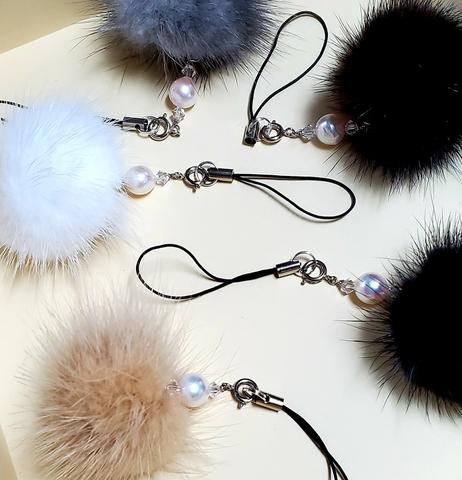 ミンクファーと本真珠のストラップ 5色セット