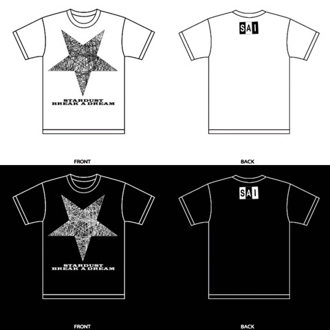 Tシャツ「夢を喰むスターダスト」白/黒