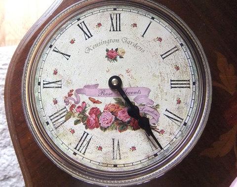 アンティーク風壁時計★ローズ柄