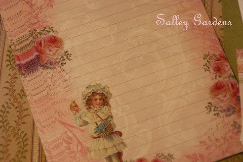 Papier Dore☆Letter Set☆ピンクの薔薇と少女