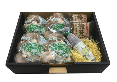 S-02 生椎茸4袋 + 干し椎茸(30g)2袋 + すだちしょうゆ1本セット