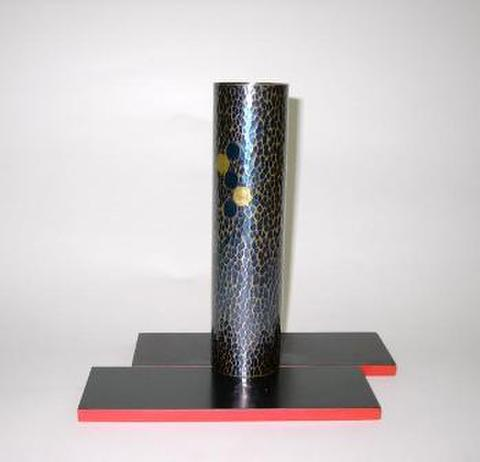 銅製 一輪差し(表面黒・裏面赤敷板付)