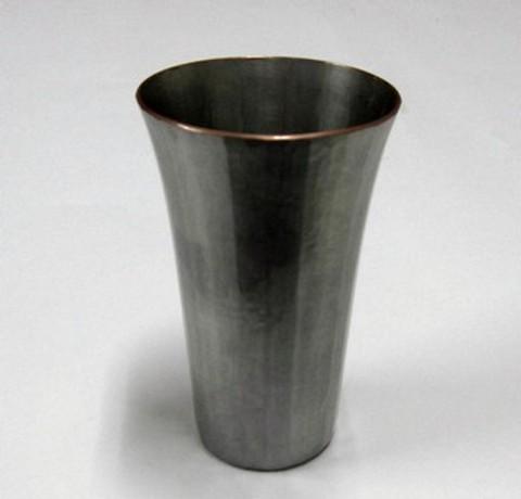 銅製 ビアカップ 縞打(白金)