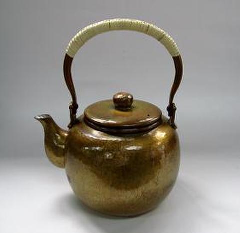 銅製 なつめ型 湯沸 金色 0.9L