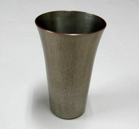 銅製 ビアカップ 竹様文(白金)