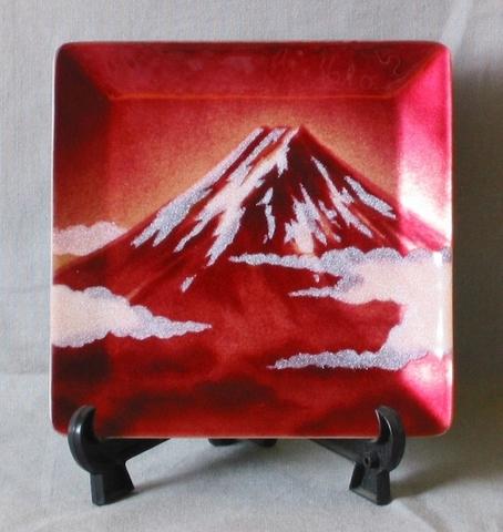 飾皿赤富士(12×12cm)