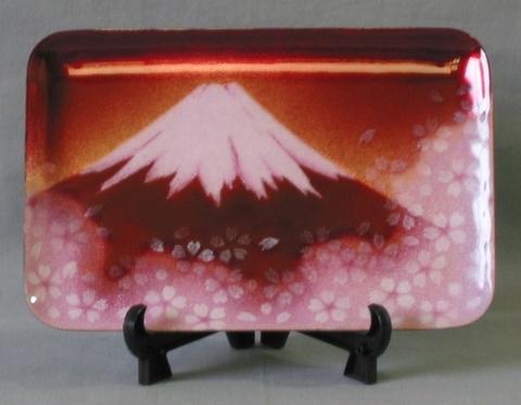 飾皿 赤富士桜
