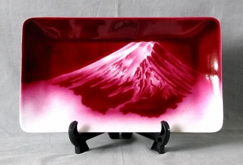 飾皿 赤富士  (特別価格)