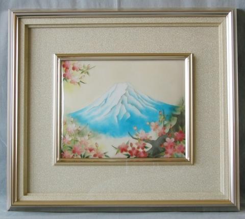 額 富士と桜 (有線七宝)