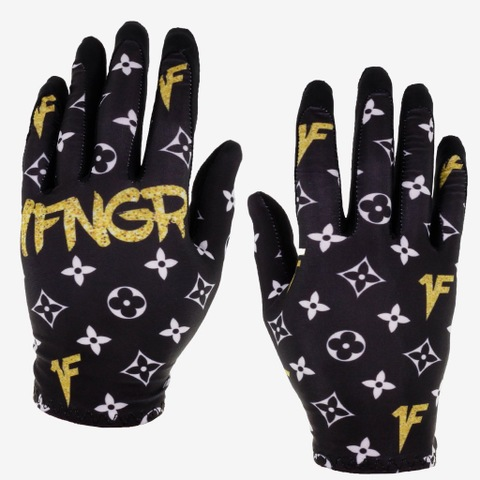 1FNGR Black Monogram Gloves