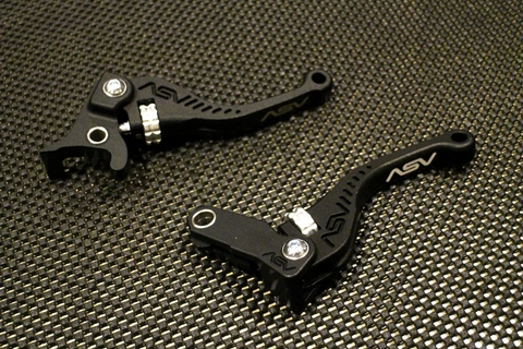 ASV C5 Shorty Brake & Clutch Lever Set Black/Siver for GROM/MSX125
