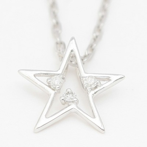 K10ホワイトゴールド・スターモチーフダイヤモンドネックレス【即納】