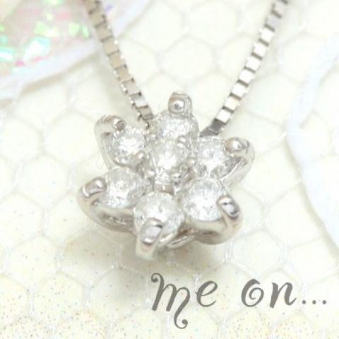 K18ホワイトゴールドダイヤモンド六芒星ネックレス【即納】
