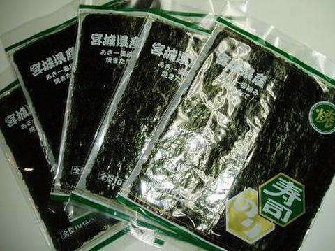 宮城県産上焼き海苔(緑)10枚入×5帖