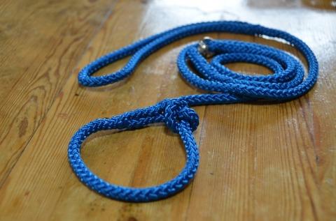 組み紐引き綱8mm成犬用(青)