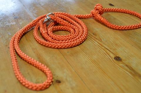 組み紐引き綱8mm成犬用(橙)