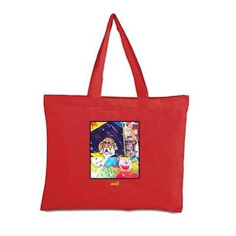 SNACK SKATEBOARDS / 'Memo Book' tote bag RED