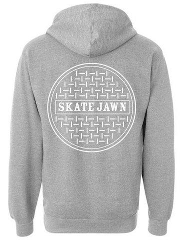 SKATE JAWN MAGAZINE / sewer cap hoodie grey