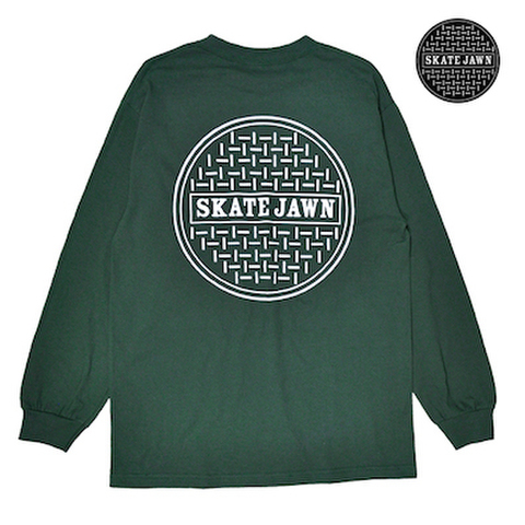 SKATE JAWN / SEWER CAP L/S TEE - FOREST GREEN