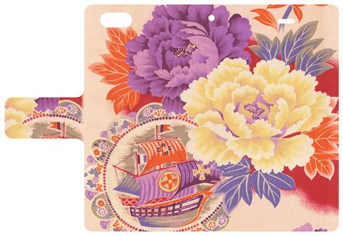 【iPhone7】アンティーク着物のスマホケース【帆船・花車】