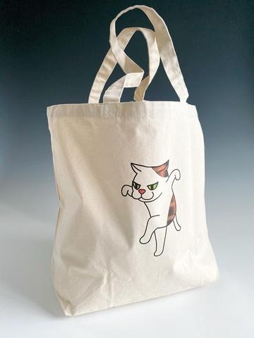 鶴のポーズをする猫のトートバッグ