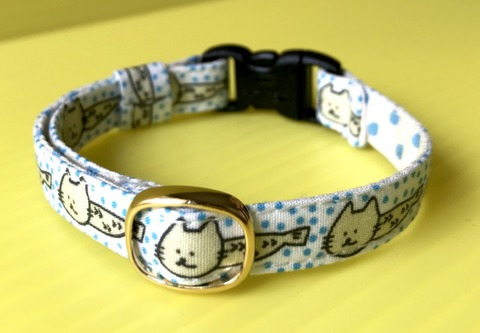 猫の首輪(青)鈴付き