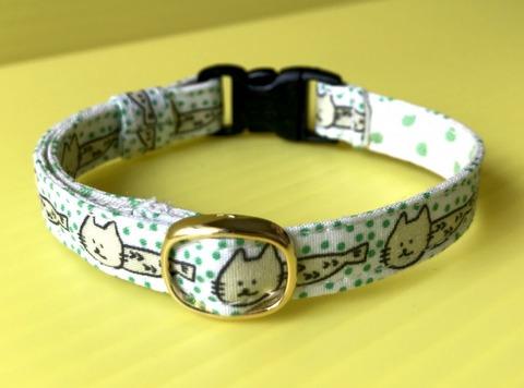 猫の首輪(緑)鈴付き