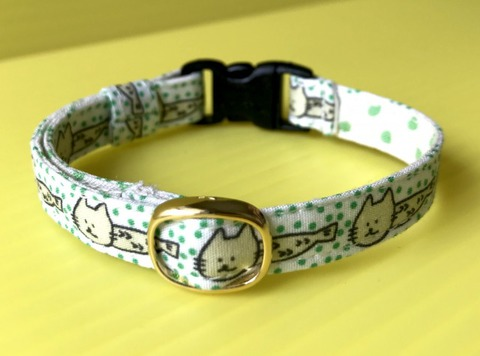 猫の首輪(緑)鈴なし