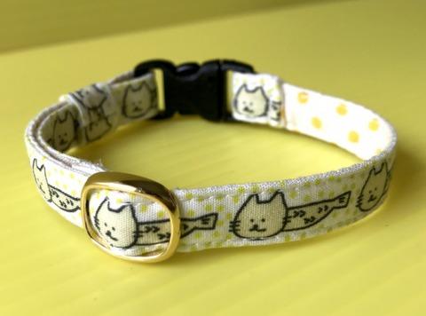 猫の首輪(黄)鈴なし