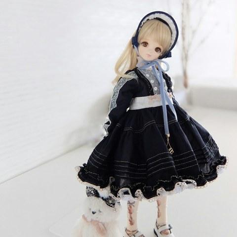 :::  布フリルなお洋服 set (難アリ・ブラック) :::