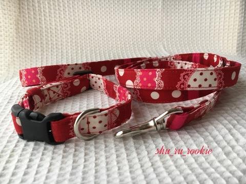 赤い大小さまざまなドット柄のお散歩首輪とリード