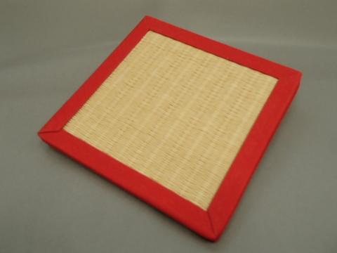 リバーシブル畳コースター  赤色へり・黄色