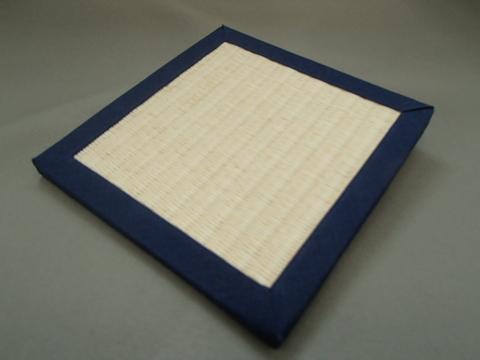 リバーシブル畳コースター  紺色へり・乳白色