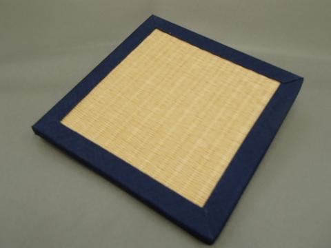 リバーシブル畳コースター  紺色へり・黄色