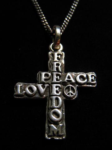 FREEDOM PEACE LOVE クロスネックレスTypeB