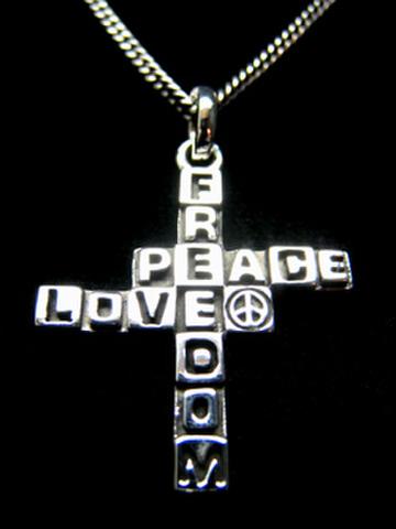 FREEDOM PEACE LOVE クロスネックレスTypeC