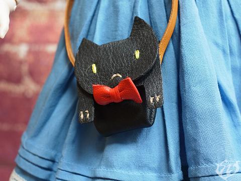 本革製ネコの鞄改(ブラック) 1/3ドール用品 3-21.5