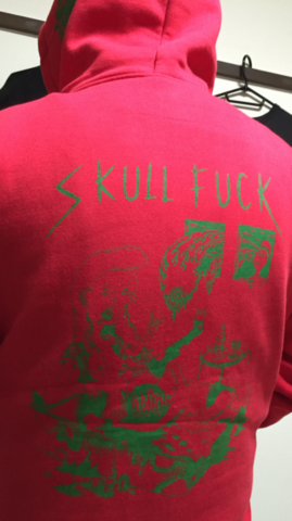 リアルスカルファック マックスヘヴィジップアップパーカー 赤x緑