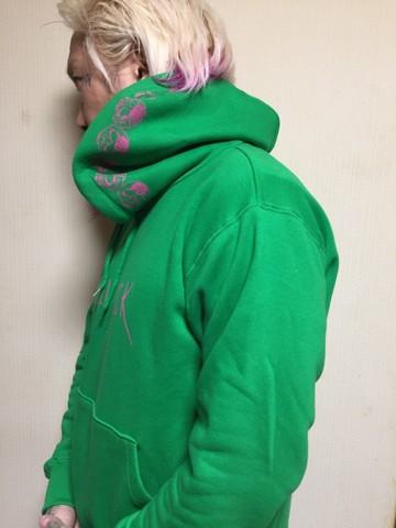 レギュラープルオーバーパーカー 第一弾 緑Xピンク