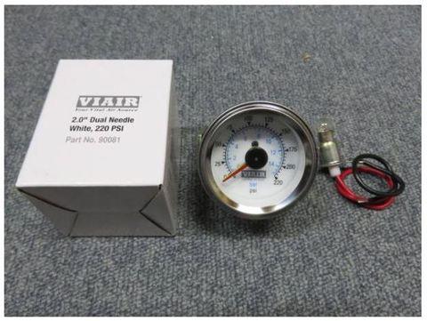 VIAIR エアサス用 エアWーゲージ 220PSI デュアルゲージ ホワイトフェイス